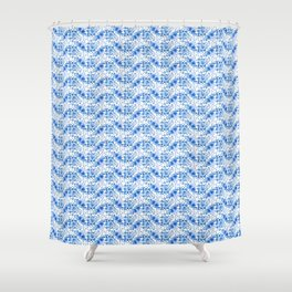 Blue floral pattern in Russian Gzhel style Shower Curtain