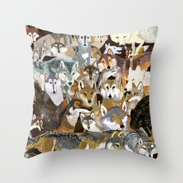 Wolves o´clock (Time to Wolf) Throw Pillow