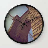 brooklyn bridge Wall Clocks featuring Brooklyn Bridge by Nick Torres