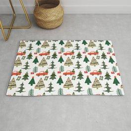 Christmas Tree / Truck / Vintage / Retro / Fir / Spruce / Winter Wonderland / Pine Tree Rug