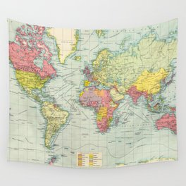 Vintage Political Map of The World (1922) Wall Tapestry