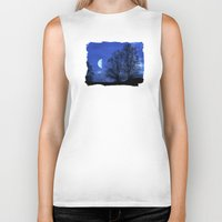 kindle Biker Tanks featuring Moon between Trees  - JUSTART © by JUSTART