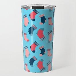 Blue Christmas Socks Pattern Travel Mug