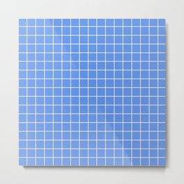 Cornflower blue - blue color - White Lines Grid Pattern Metal Print