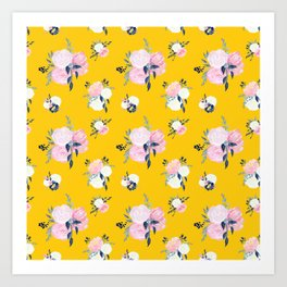 Spring Florals on Mustard Yellow Art Print