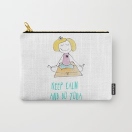 Funny drawing of a happy girl in the Lotus position. Keep calm and do yoga card. Carry-All Pouch