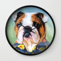 english bulldog Wall Clocks featuring Chic English Bulldog by Jai Johnson