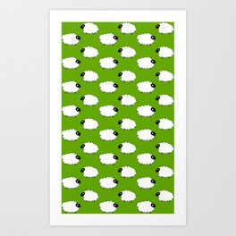 Sheep on green Art Print