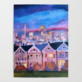 San Francisco - Painted Ladies - Alamo Sq Poster