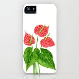 Flamingo flower watercolor iPhone Case