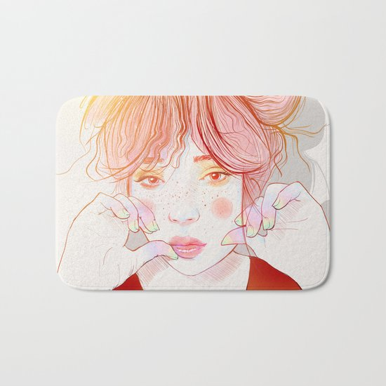 Colorful face Bath Mat