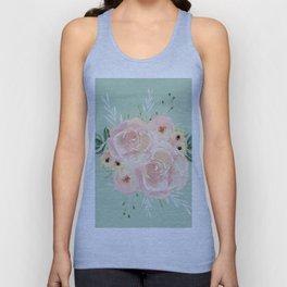 Wild Roses on Pastel Cactus Green Unisex Tank Top