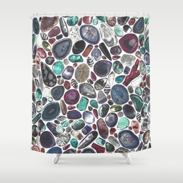 MIXED GEMSTONES ON WHITE Shower Curtain