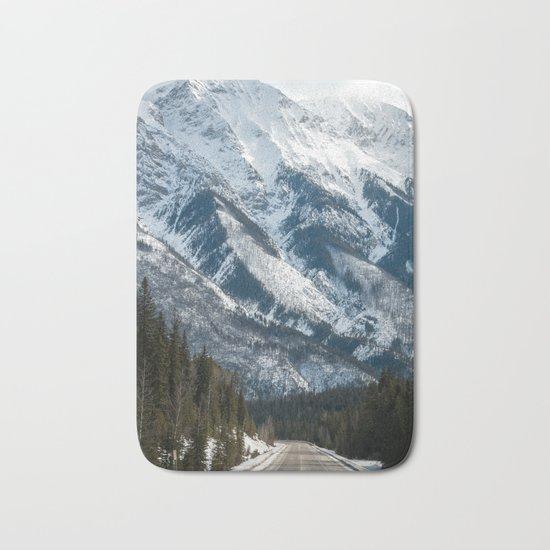 snow capped mountains Bath Mat