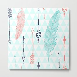 Cute hipster pattern with feather and arrows Metal Print