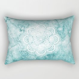 Mandala on teal marble. Rectangular Pillow
