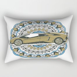 Gold Lamborghini Mandala Rectangular Pillow
