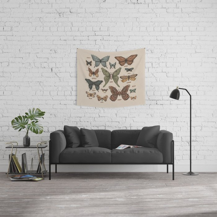Butterflies and Moth Specimens Wall Tapestry