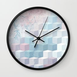 Distressed Cube Pattern - Pink and blue Wall Clock