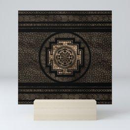 Sri Yantra  / Sri Chakra Dot Art Gold and Black Mini Art Print