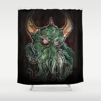 cthulhu Shower Curtains featuring Cthulhu by byron rempel