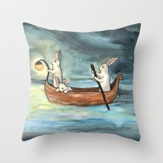 Night Boating Throw Pillow