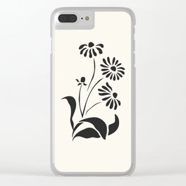 Black Decorative Flower on White, Minimalist line drawing, Modern art print with flower. Clear iPhone Case