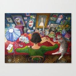 Amelie writing postcards Canvas Print