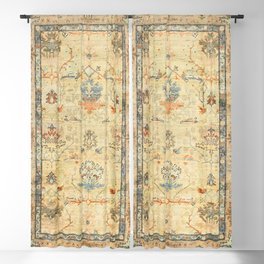 Fine Crafted Old Century Authentic Colorful Yellow Dusty Blues Greys Vintage Rug Pattern Blackout Curtain