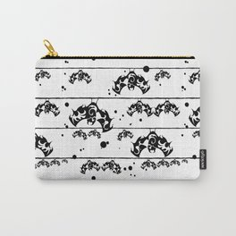 Halloween (bat) seamless repeat pattern in black and white Carry-All Pouch