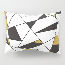Modern Geometry -black and white with gold- Pillow Sham