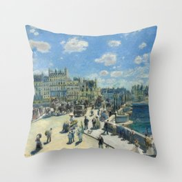 Pont Neuf Paris Painting by Auguste Renoir Throw Pillow