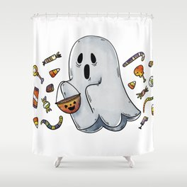 Trick or Treating Halloween Ghost Shower Curtain