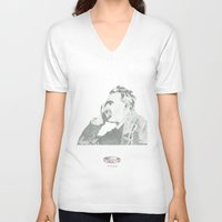 nietzsche V-neck T-shirts featuring nietzsche on canvas board by a crown of wood