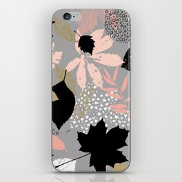 Abstract maple leaves autumn in pink and gray colors iPhone Skin