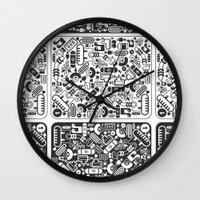 grid Wall Clocks featuring Grid by Cloz000