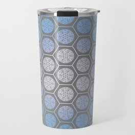 Hexagonal Dreams - Periwinkle/Turquoise gradient Travel Mug