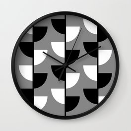 Climbing High - Black & White on Grey - Slices Series Wall Clock