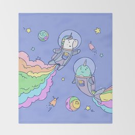 Space Unicorn and Narwhal Throw Blanket