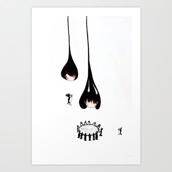 Drip Drip heads with penguins saving them Art Print