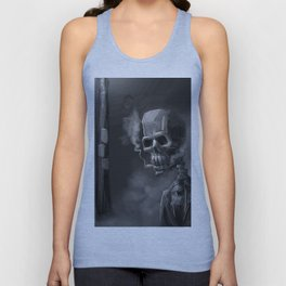Noir Skeleton Digital Illustration Unisex Tank Top