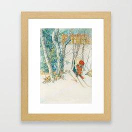 Putting on Skiis by Carl Larsson Framed Art Print