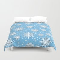 snowflake Duvet Covers featuring Snowflake by Michelle Ryan