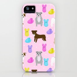 Pitbull dog breed peeps marshmallow easter spring dog pattern gifts pibble iPhone Case