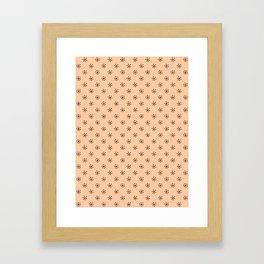 Black on Deep Peach Orange Snowflakes Framed Art Print