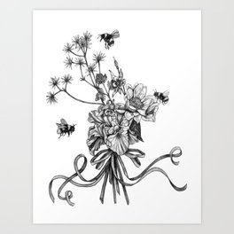 Bumble Bee drawing - Pollinators 1 Art Print
