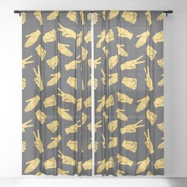 Rock Paper Scissors Sheer Curtain