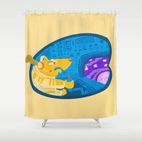avenger Shower Curtains featuring Space dog the avenger by christopher-james robert warrington