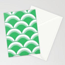 Japanese Fan Pattern Green Stationery Cards