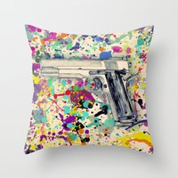 gun Throw Pillows featuring Gun by Maressa Andrioli